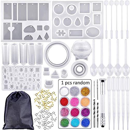 Bysonice - Set di 83 stampi in silicone e utensili con borsa nera per riporre oggetti fai da te