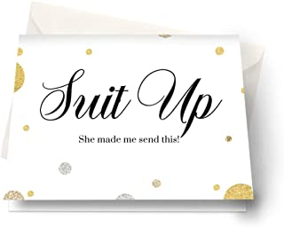 Suit Up Groomsmen Cards (6 Pack) Personalize for Best Man, Ushers, Attendants, Father of Bride, Guest of Honor, Wedding Party Abstract
