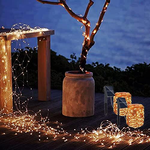 Guirnaldas Luces Exterior Solar, REDSTORM Cadena de Luces Solares, 10 m, 2 x 100 LED, Impermeable, 8 Modos, Decoración de Luz para Jardín, Balcón, Terraza, Patio, Casa, Boda (Blanco cálido)
