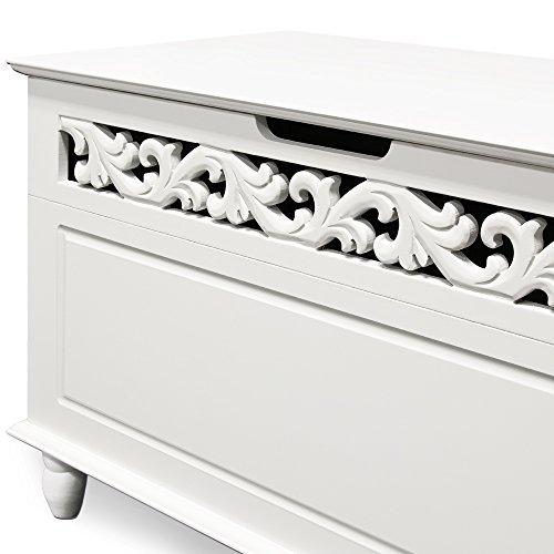 Holztruhe Tischtruhe Sideboard Wäschetruhe weiß, 80x40x48cm - 4