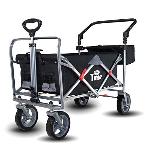 TMZ Faltbarer Bollerwagen Klappbar Gartenwagen mit Fußbremse, Patentierter 360 ° Drehbar All-Terrain Leise-Räder Klappwagen Handwagen, Transportwagen für Kinder, Hecktasche, 90 L, bis 120kg