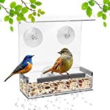 SUQ I OME Acrylic Clear Wild Window Bird House Feeder with Strong Suction Cup and Seed Tray with Drain Holes, Small,Clear Acrylic, Easy Clean, Outside Feeders for Transparent View