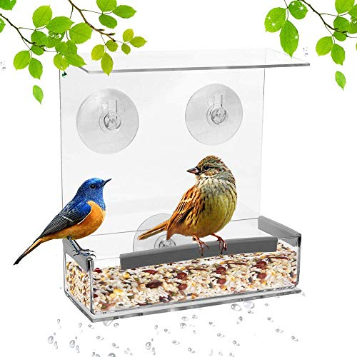 SUQ I OME Outdoor Window Bird Feeder with Strong Suction Cups and Seed Tray with Drain Holes Small Compact Clear Acrylic Easy Clean Outside Feeders for Transparent Viewing Square