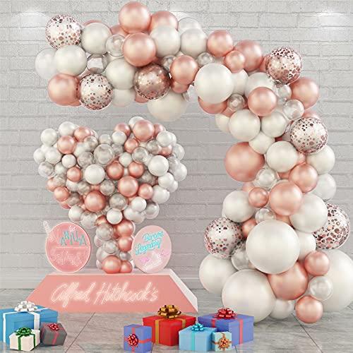 Ballons Girlande, Weiß Roségold Luftballons Girlande Set für Mädchen Frauen, Roségold Konfetti Latexballons mit Ballonkette und Punktkleber für Geburtstag Hochzeit Party...