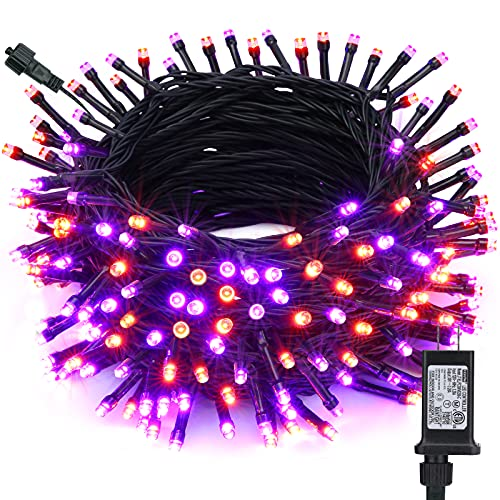 Toodour Orange & Purple Halloween Lights, 82ft 200 LED Halloween String Lights with 8 Modes, Timer, Low Voltage, Connectable Halloween Outdoor Lights for Home, Garden, Party, Halloween Decoration