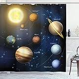 ABAKUHAUS Duschvorhang, Unser Sonnensystem Orbit die Sonne mit Namen Geographie Kinderfre&lich Abbildung der Planeten, Wasser & Blickdicht aus Stoff mit 12 Ringen Bakterie Resistent, 175 X 200 cm