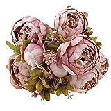 Weksi Bouquet de Pivoine Artificielle Fleurs, Parfait pour Le Mariage, Nuptiale, Partie, Bureau Décor Bricolag (Vieux Rose)
