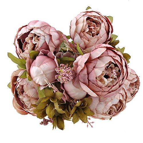 Weksi® Ramo de peonías artificial, flores perfectas para boda, fiesta, oficina, decoración