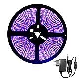 DeepDream 5M UV Schwarzlicht LED Streifen mit Netzteil,UV LED Strip 300 LEDs Lichtband,Selbstklebend...
