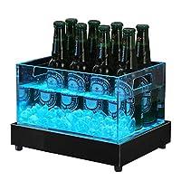 シャンパンバケツ LEDアイスバケット 輝く氷のバケツ 白色光と色付きの光源 再充電可能な防水、取り外し可能なステンレススチールベース (色 : Colorful light, Size : 24 bottles)