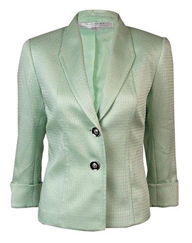 Tahari ASL Womens Winnia Tweed Cuffed Two-Button Blazer Pink 8