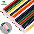 24 Pieces Peel-Off China Markers Grease Pencil Crayons Colorful Drawing Marking Wax Pencils for Wood, Glass, Garments, Metal, Fabrics, Porcelain, Film, Paper