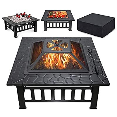 CISVIO 32in Fire Pit Outdoor BBQ Square Metal Table Patio Garden Stove Wood Burning Fireplace with Spark Screen, Cover,Poker,Grill for Camping Picnic Bonfire Backyard, Black