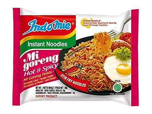 Indomie Foods Mi Goreng Instant Noodles, Halal Certified, Hot & Spicy Flavor, Pack of 40