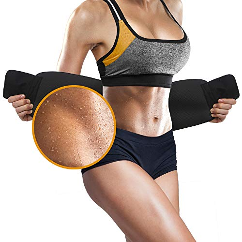 Perfotek Waist Trimmer Belt, Sweat Wrap, Tummy Toner, Low Back and Lumbar Support with Sauna Suit Effect, Best Abdominal Trainer (Black)…