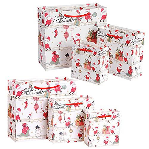 Bolsa de Papel de Regalo Grande 6 piezas Bolsas de Papel con Asas para Navideños Bolsas de Regalo con Motivo Navideño Bolsas de Regalo para Navidad Asa de Bolsa de Papel de Regalo (3 Tamaños)