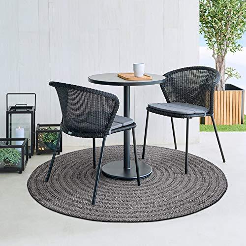 DECOMALL In- und Outdoor Teppich Geflochte Reversibel Außenteppich Grau Schwarz Rund 150x150cm