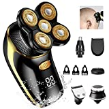 Electric Head Shavers for Men, OriHea 6-in-1 Electric Shaver & Grooming Kit, Cordless and Rechargeable Wet/Dry 5 Head 5D Rotary Shaver with Clippers Nose Hair Trimmer - Gold