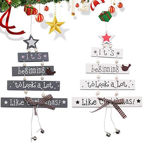 JPYH 2 Pezzi Ciondoli per Albero di Natale in Legno di Natale, Ciondoli per Porta a Muro in Legno con Lettere di Natale, Decorazioni Pendenti per Albero di Natale, Materiali in Legno, Bianco e Grigio
