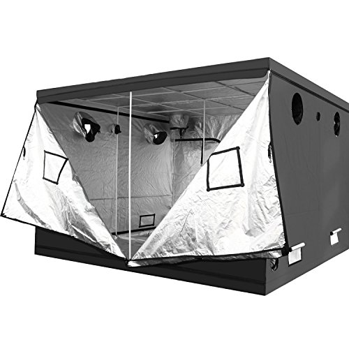 """iPower 120""""x120""""x78"""" 10' x 10' Mylar Hydroponic Water-Resistant Grow Tent with Observation Window and Removable Floor Tray, Tool Bag for Indoor Plant Seedling, Propagation, Blossom, etc"""