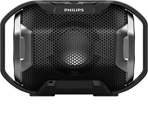 Philips SB300B/00 tragbarer Shoqbox Lautsprecher mit Bluetooth (wasserfest,stoßfest, mehrfarbiges Licht) schwarz