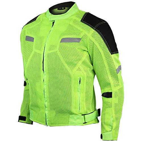 Vance Advance Lightweight Mens All Weather Season CE Armor Mesh Motorcycle Jacket (Hi-Viz Green, 3XL)