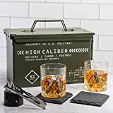 Whiskey Glasses And Steel Stones Set In Unique Tactical Box Display | Ideal Groomsmen Gifts Whiskey Gifts For Men | Bourbon Whiskey Cocktail Glasses, Slate Coasters and Tongs