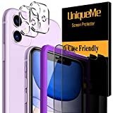 [4 Pack] UniqueMe 2 Pack Privacy Screen Protector +2 Pack Camera Lens Protector for iPhone 11(6.1 inch) [Easy Install Frame] Tempered Glass, Case-Friendly No-Bubble High Definition-Clear