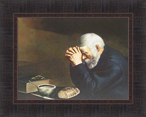 Home Cabin Décor Grace by Eric Enstrom 17x21 Daily Bread Man Praying at Dinner Table Religious Pray Framed Art Print Picture