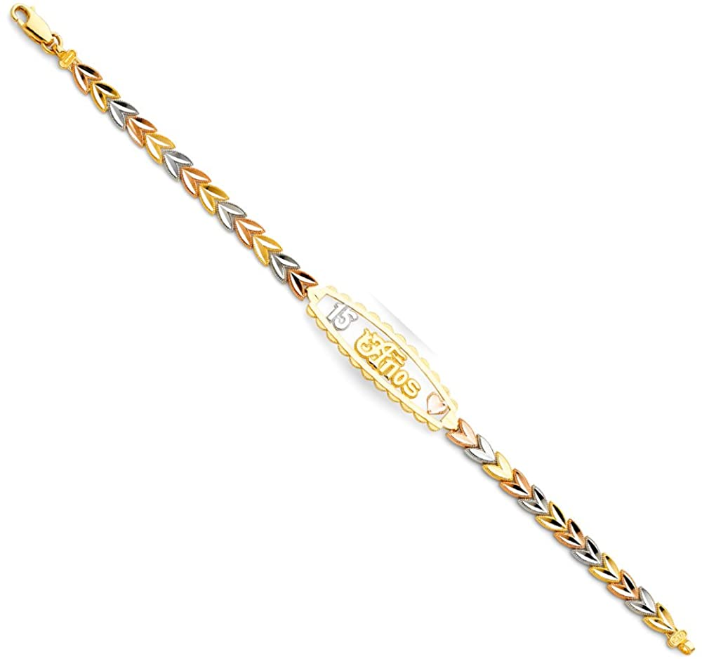 Tri Color 15 Years ID Length 14k Bracelet Gold Max 82% Super special price OFF 7.25''
