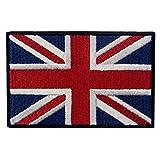 Bandera británica de Union Jack Reino Unido Emblema nacional Broche Bordado de Gancho y Parche de Gancho y bucle de cierre