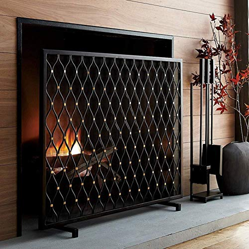 Purchase FF Fireplace Screens Free-Standing Fireplace Screen, Black Iron Single Flat Panel Spark Fla...