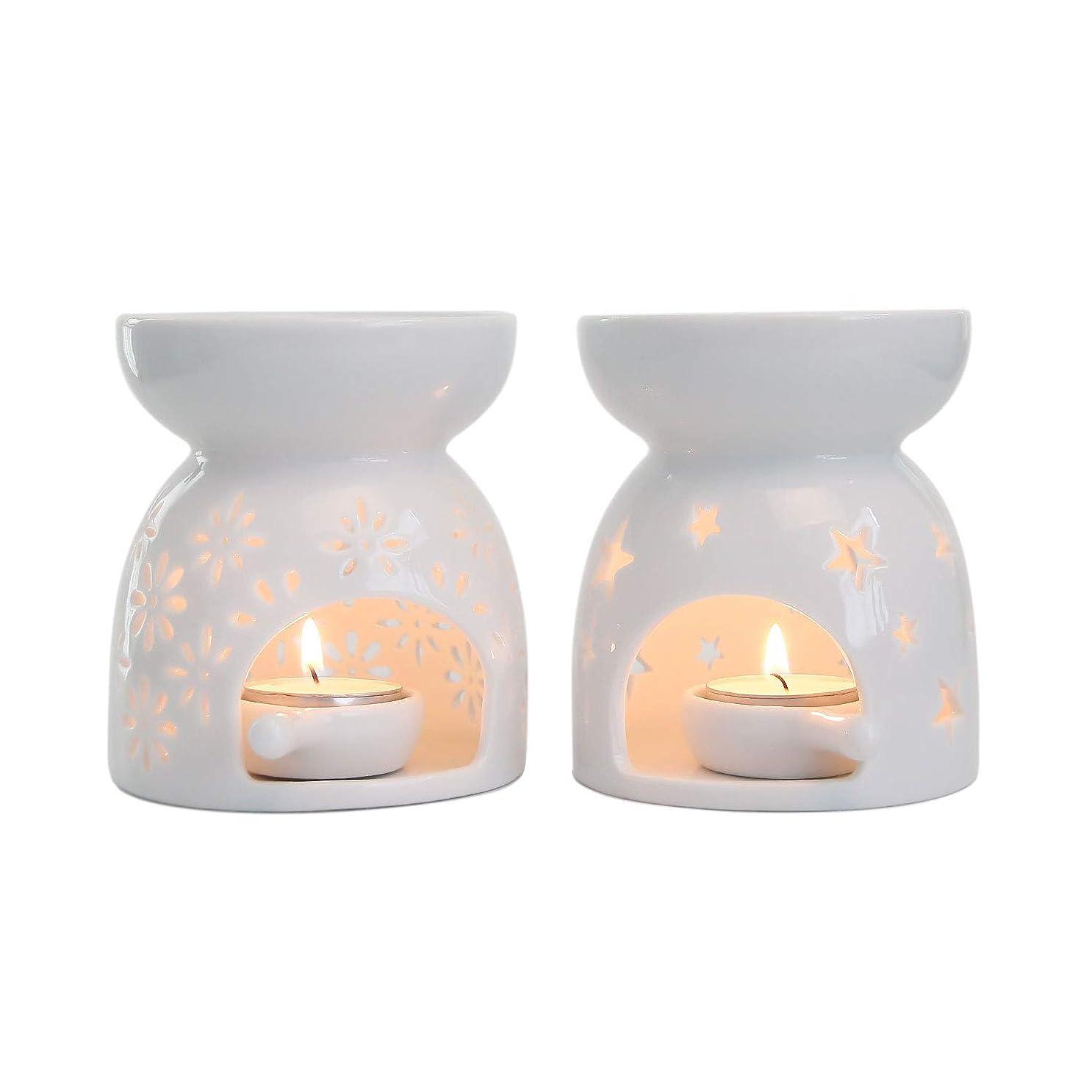 警察署サバントアンプRachel's Choice 陶製 アロマ ランプ ディフューザー アロマキャンドル キャンドルホルダー 花形&星形 ホワイト 2点セット