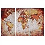 Zerodis Mapa del Mundo Arte de la Pared, 3 Piezas Mapa sin Marco Arte de la Pared Imágenes Lienzo Arte de la Pared Pintura Mapa Cartel para la Oficina en el hogar Decoración Moderna(L:40 * 80cm)