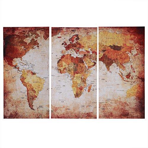 Zerodis Mapa del Mundo Arte de la Pared, 3 Piezas Mapa sin