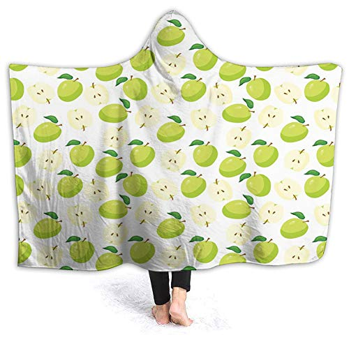 Ultra-Soft Micro Fleece Soft and Warm Throw Hooded Blanket,Fruits,Cartoon Style Green Fruits Stalks Core and Seeds Anatomy of an Fruits,50' 40',Brown Yellow Green Cream