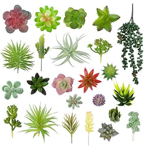 VINFUTUR 24 Pz Succulente Piante Artificiali Piante Grasse Finte per Giardino Interno e Esterno...