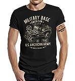 Gasoline Bandit Original Design Biker Military T-shirt pour les fans de l'armée Jeep - Noir - 48