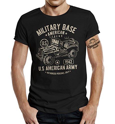 Gasoline Bandit Camiseta de diseño original de motorista militar para el fan del ejército Jeep Negro XL
