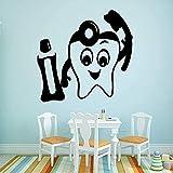 Dientes Clínica Dental Vinilo Etiqueta De La Pared Papel Tapiz Para El Hospital Dental Decoración Del Dormitorio Del Niño Calcomanía De Pared 58X60 Cm