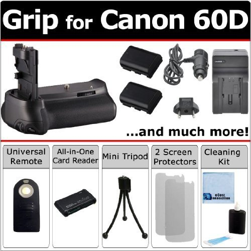 Multi-Purpose Battery Grip for Canon EOS 60D DSLR Camera + LP-E6 Long Life Batteries + AC/DC Turbo Charger With Travel Adapter + Universal Wireless Remote + All-In-One Card Reader + an eCostConnection Complete Starter Kit