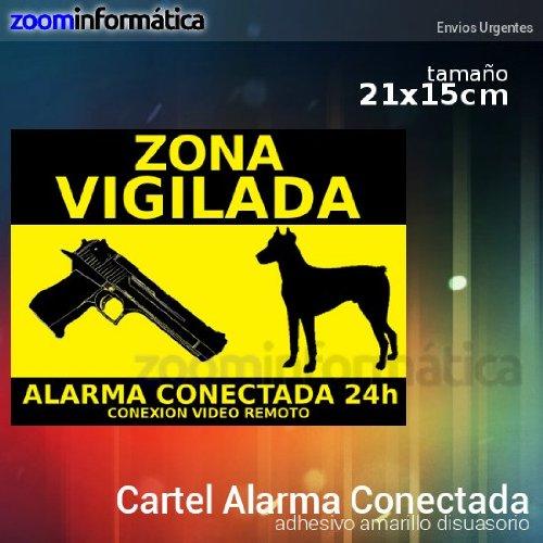 alarmaszoom Cartel Alarma RIGIDO CONECTADA VIGILANCIA DISUASORIO Perro Pistola VIGILANCIA Casas Campo DISUASORIA para Uso Exterior Seguridad CAMARAS VIGILANCIA