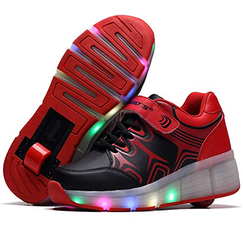 QMMD LED Clignotante Chaussures à roulettes Enfants Clignotante Chaussuresavec roulettes Multisports Outdoor Chaussures Creative Gifts Chaussures roulettes,Rouge,1.5 UK/34 EU
