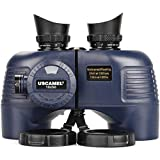 10x50 Marine Binoculars with Compass for Adults - Waterproof BAK4 Prism FMC Lens Binoculars with Rangefinder Compass and Shoulder Harness Strap for Navigation Hunting Bird Watching