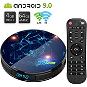 Android TV Box 9.0【4G+64G】 Boitier Android TV de Bluetooth 4.1 L1 Max RK3318 Quad-Core 64bit Cortex-A53 USB 3.0 LAN100M Dual Wi-FI 2.4G/5G TV Box 4K Iptv Box Android