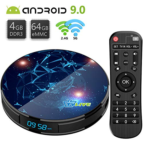 Android 9.0 TV Box T1 Max 4GB RAM 64GB ROM Livebox TV Box RK3318 Quad-Core 64bit / Dual-WiFi 2.4GHz/5GHz / BT 4.1 / USB 3.0 / 4K Full HD H.265 Smart TV Box