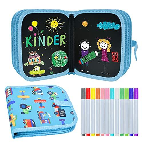 EKKONG Libro da colorare per Bambini, Tavolo da Disegno con Graffiti, Set da colorare per Bambini, Album da Disegno con 12 matite Colorate, Lavabile, Portatile, Riutilizzabile, 14 PCS (Auto)