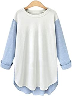 Striped Splicing Medium and Long Loose-Fitting Casual T-Shirts