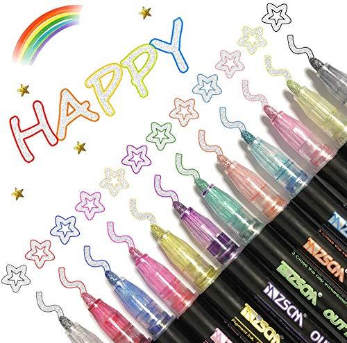 12 rotuladores de doble línea, bolígrafos de dibujo con purpurina, para felicitaciones de cumpleaños, tarjetas, pintura, manualidades y álbumes de recortes