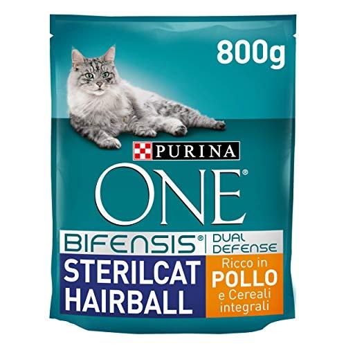 PURINA ONE Bifensis Crocchette Gatto Sterilcat Hairball Ricco in Pollo e Cereali Integrali - 8 sacchi da 800g ciascuno
